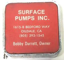 Vintage Miniature Barlow Tape Measure Surface Pumps Inc. Oildale CA Bakersfield