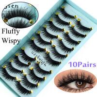 DINGSEN 10 Pairs 3D False Eyelashes Wispy Fluffy Natural Long Lashes Handmade~ly