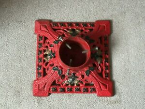 Vintage Cast Iron Christmas Tree Holder - Red With Gold And Green Decoration