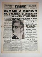 N1170 La Une Du Journal Ce Soir 29 septembre 1938 Munich daladier, chamberlain