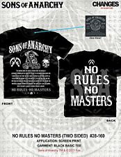Sons Of Anarchy Soa No Rules No Masters Samcro Moto Camiseta S-3XL