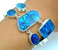 Natural Blue Paua Abalone Shell 925 Sterling Silver Chain Bracelet Jewelry SA057