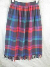 Vintage Pendleton Skirt Size Small Fringed Hem Tartan Plaid High Waisted Wool