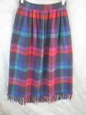 Vintage Pendleton Skirt Size Small Fringed Hem Tartan Plaid High Waisted Wool