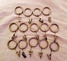 "Set 14 Umbra Silver Tone Brushed Nickel Curtain Rings 1"" Inner Diameter"