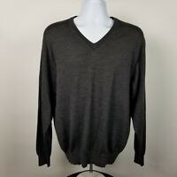 Jos A Bank Signature Collection Mens Dark Gray V-Neck Pull Over Sweater Sz Large