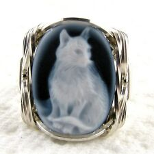 Sitting Cat Black Agate Stone Cameo Ring .925 Sterling Silver Jewelry Any Size