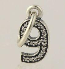 Nuevo número de Pandora 9 encanto-Pendientes de plata esterlina, circonia cúbica Colgante 791347CZ
