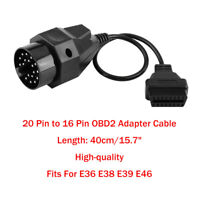 20 Pin to 16 Pin OBD2 Adapter Connector Scanner Cable For E36 E38 E39 E46