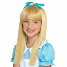 Girls Kids Childs Size Alice in Wonderland Long Blonde Wig Book Costume Hair Bow