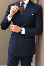 Men Navy Blue Suit Grooms Double Breasted Formal Wedding Party Wear (Coat+Pant)K