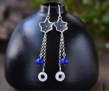 Natural Lapis Lazuli Crystal Jade Eardrops Silver Lotus Leaf Women Gift