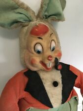 "Vintage Rubber Face Rabbit With Pipe 19"" Rubber Shoes and Hands, Beret, Rare"