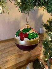 "KREBS Lauscha Glas Christmas Ornament Blown Glass Holly & Berries Germany 3"""