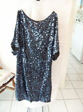Cache Navy Sequin Evening Dress  Size 0 NWT