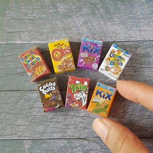 7x Assorted Cereal Corn Flakes Packets Box Dollhouse Miniature Food Supply Deco