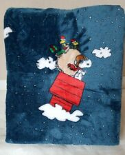 NEW Berkshire Peanuts Snoopy Christmas Holiday Blue Throw Blanket TWIN 50 x 70