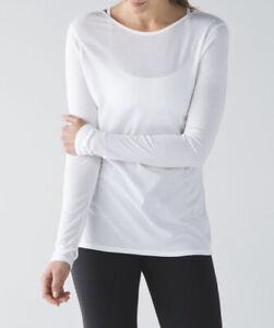 Lululemon Size 10 Zen Bender LS White WHT Long Sleeve Cotton Tie Back Swiftly