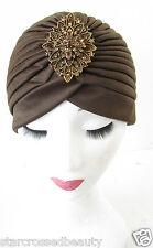 Brown Bronze Rhinestone Turban Cloche Hat Vintage 20s 40s Flapper Headpiece R39