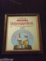 VINTAGE 1980S CELEBRATE LEROUX & BREW SCHNAPPSFEST BAR MIRROR SIGN