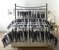 SILHUET 3pc Reversible Black, White Print Comforter Set TWIN FULL/QUEEN KING Bed