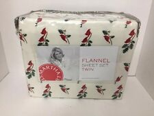 Martha Stewart Flannel Twin Sheet Set Printed W/Cardinals Holiday Sheets