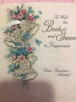 Vintage Wedding Card MCM Hallmark Parchment Paper Bells Pink blue Gold Ribbon