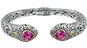 Devata Bali Filigree Sterling Silver 18K Gold Bracelet Pink Topaz DHK3215PT Sz M