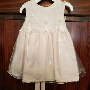 NWT Macy's Bonnie Baby girl pink linen tulle dress & lace bodice 12 months