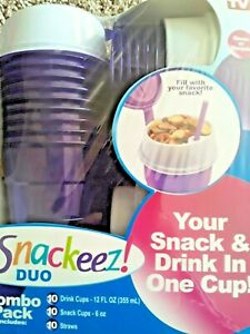 Snackeez! Cup Snack Drink In A Cup On The Go Sport Duo Combo 10PK 2in1 BPA FREE
