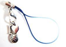 Antique Silver 'I LOVE FOOTBALL'  Phone Charm FREE Gift Bag iphone Nokia Samsung