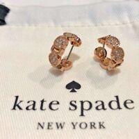 NWT Kate Spade gatsby dot huggies hoop earrings rose gold crystal pink+dust bag