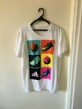 Adidas Running t-shirt Men Crew Neck White Graphic Tee Short Sleeve Size L
