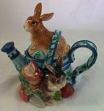 Vintage 1996 Original Fitz and Floyd Bunny Garden Watering Can Ceramic Teapot