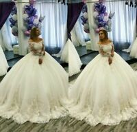 Bateau Applique Ball Gown Wedding Dress Long Sleeves Sweetheart Bridal Gowns