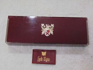 Vintage LORD ELGIN Wrist Watch Square Hinged Presentation Storage Case & Booklet