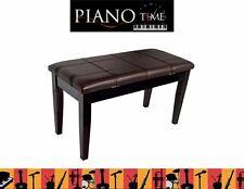 KTW12M Piano/Keyboard Stool with Padded Seat & Storage - Polished Mahogany