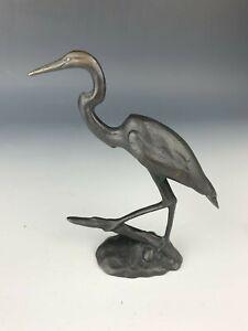 Yaacov Heller Cast Bronze Egret Heron Crane Bird Sculpture Figurine