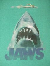JAWS MOVIE POSTER GRAPHIC - SHARK WITH SWIMMER - SMALL GREEN T-SHIRT - B217