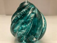 Vintage P Gibson Signed Large Blue Controlled Bubble Swirl Art Glass Paperweight