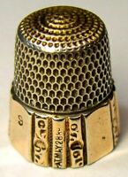 """Antique Simons Bros. Gold Band Sterling Silver Thimble  """"HF"""" Monogram  Dtd 1889"""