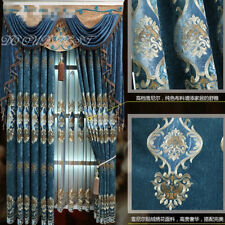 European luxury embroidered blue bedroom cloth curtain tulle valance N242