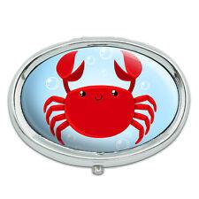 Cute Crab Metal Oval Pill Case Box