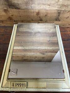 Vintage Medicine Cabinet  28x22 ART DECO METAL PLASTIC FRONT GLASS RUSTIC
