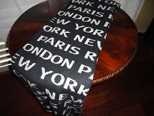 STOREHOUSE BLACK WHITE NEW YORK LONDON ROME PARIS THROW BLANKET 56 X 64