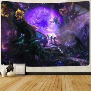 Psychedelic Purple Fairy Castle Tapestry Trippy Wall Hanging Tapestry Home Decor