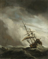 """oil painting handpainted on canvas """"A ship in high seas in a heavy storm """"@N6553"""