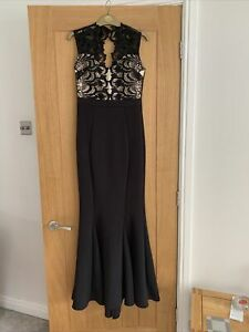 Lipsy London Love By Michelle Keegan Black And Nude Long Ladies Size 10 Dress