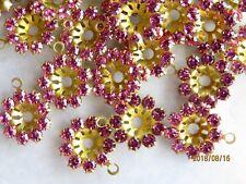 A251 - 36 Swarovski Rhinestones Flower Jackets / Pendants - Rose - 12mm - 1-Eye