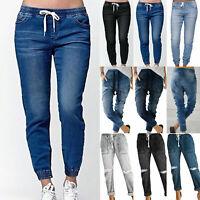Womens High Elastic Waist Drawstring Jeans Pants Casual Harem Trousers Plus Size